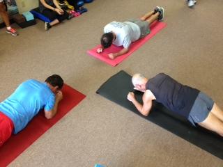 3 people planking